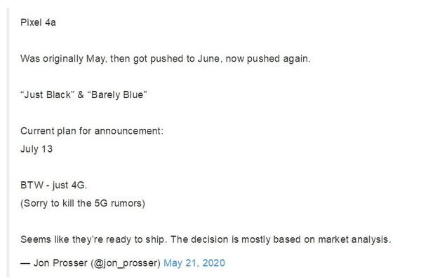爆料称谷歌Pixel 4a或6月13日发布 骁龙730+12MP单摄