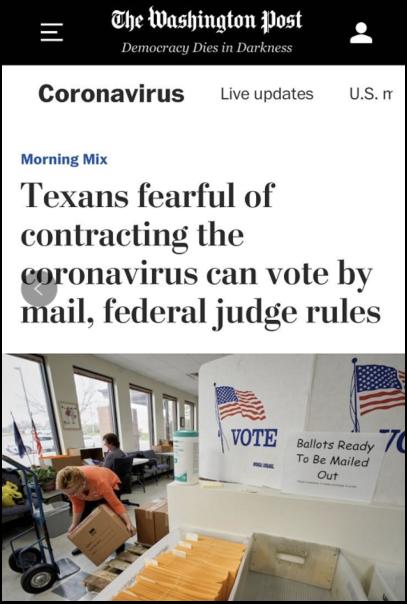 △《华盛顿邮报》报道,威斯康星州进行选票站投票后,至少71人投票后确诊感染新冠肺炎