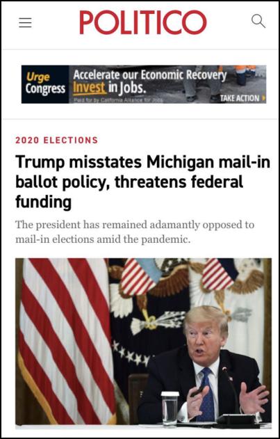 △《政治》指出,特朗普威胁多州说,若允许邮寄选票,则将切断联邦资金