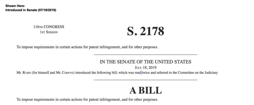 △卢比奥提交有关专利的草案 图片来源:美国国会官网