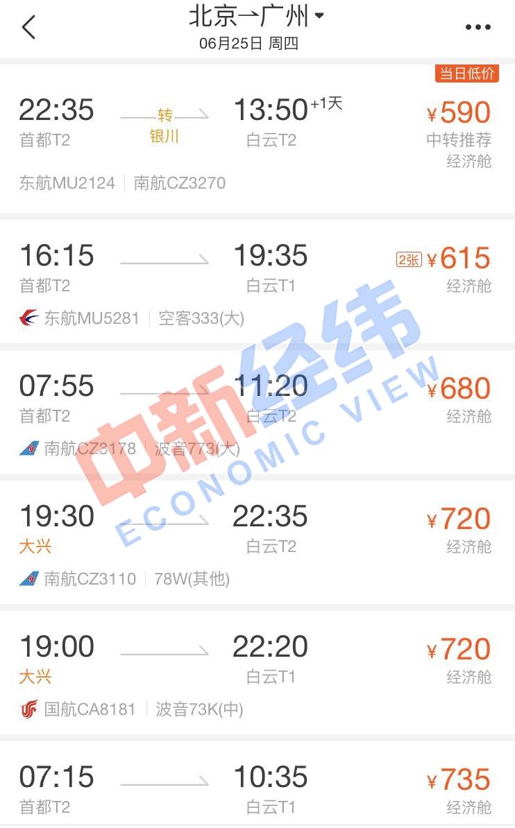 来源:第三方机票网购平台截图