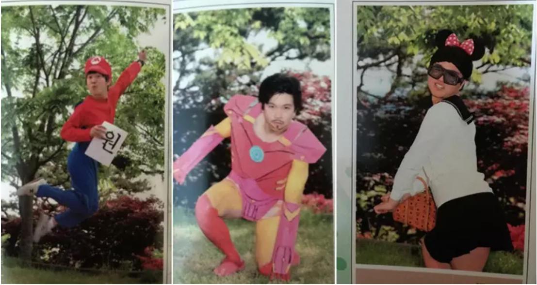 韩国的男子高中Jeonju Haesung High School,这间学校的学生照出了与众不同的毕业照。他们穿上奇怪的服饰、做出古怪的动作来纪念高中的结束。图据网络