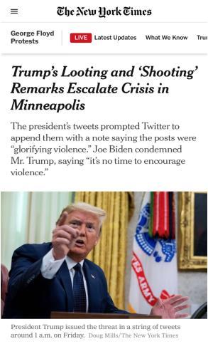 △《纽约时报》报道,特朗普的言论加剧了明尼阿波利斯危机