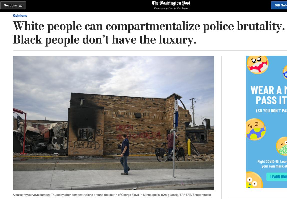△《华盛顿邮报》报道,警方暴力弹压民多,区别对待有色人栽