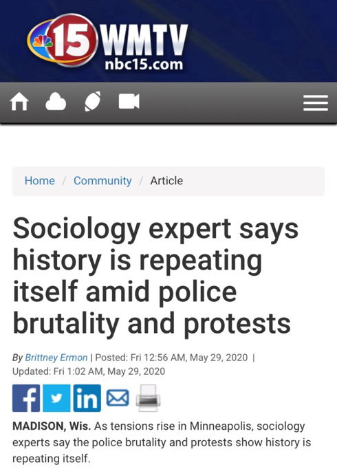 △NBC新闻表示,社会学专家称,美国警察暴力执法案例不断重演