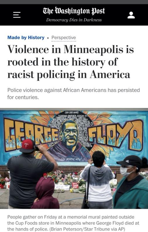 △《华盛顿邮报》称,明尼阿波利斯的暴力行为来源于美国根深蒂固的种族歧视政策