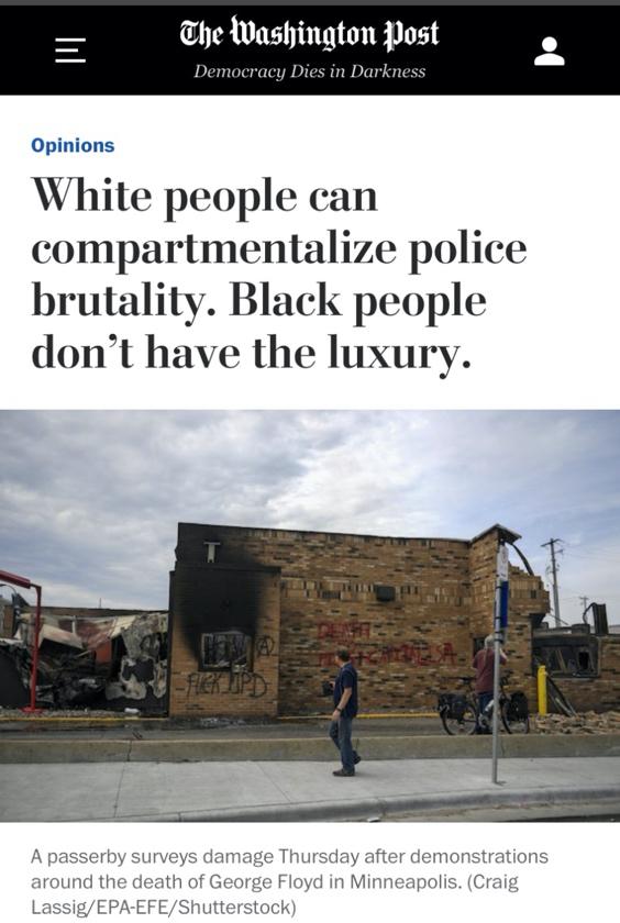 △《华盛顿邮报》表示,暴力执法是种族歧视的一种集中表现