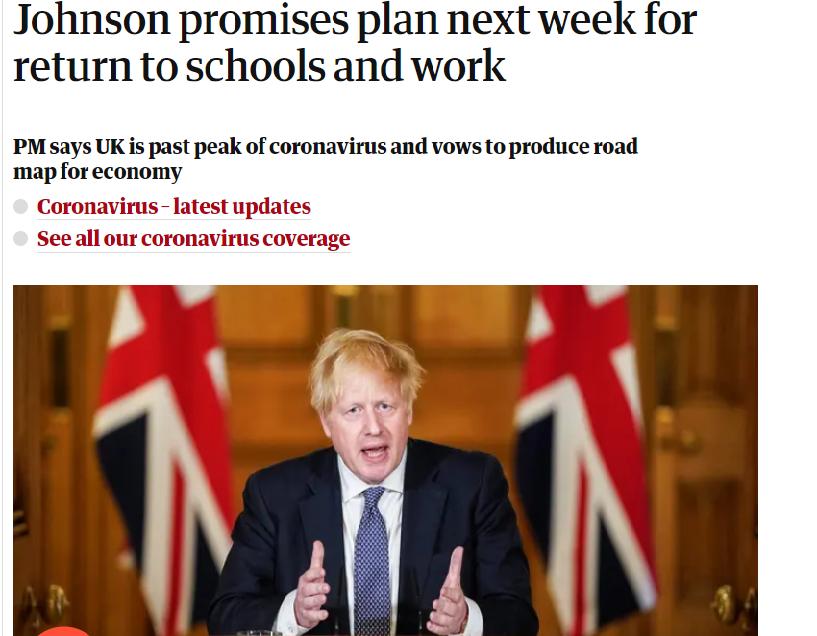 图:4月30日英国《卫报》文章:约翰逊允许下周计划复学复工的解封措施