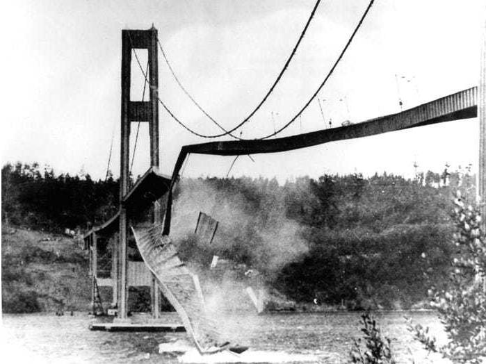 ▲塔科马海峡吊桥垮塌。图据《商业内幕》