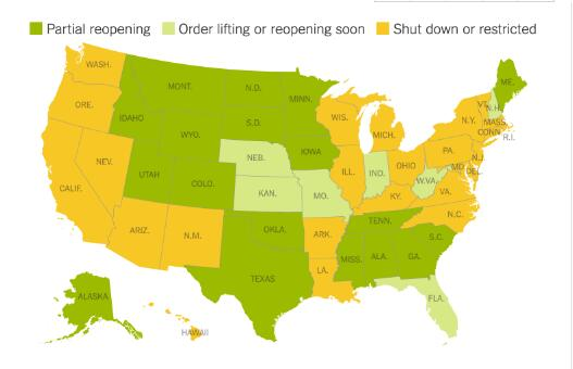 片面重启、即将重启和正在封锁中的州。(截自纽约时报)