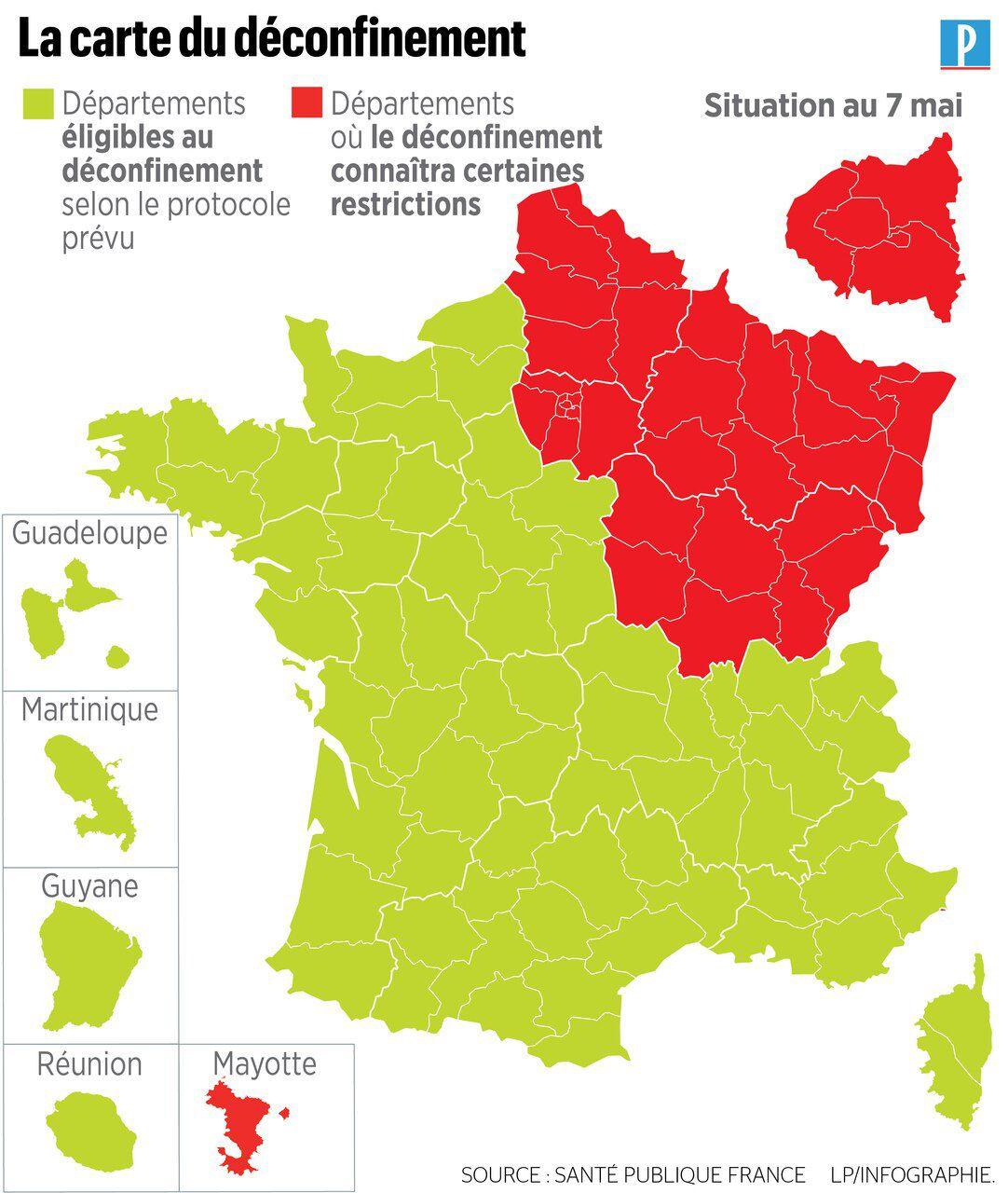 """法国政府将疫情趋缓的地区划为""""绿区""""(巴黎人报)"""