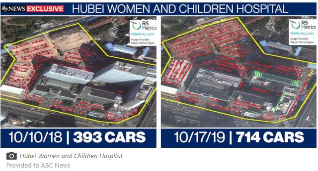 """(截图为美国广播公司在其""""独家""""报道里给出的停车场对比图片)"""