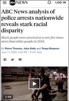 △美国广播公司调查发现,2018年,美国800个辖区中的黑人被逮捕率是白人的五倍,另有250个辖区中,黑人的被逮捕率则是白人的十倍