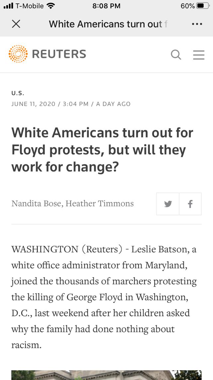 △路透社的报道提出了一个问题:美国白人真能努力推动变革吗?