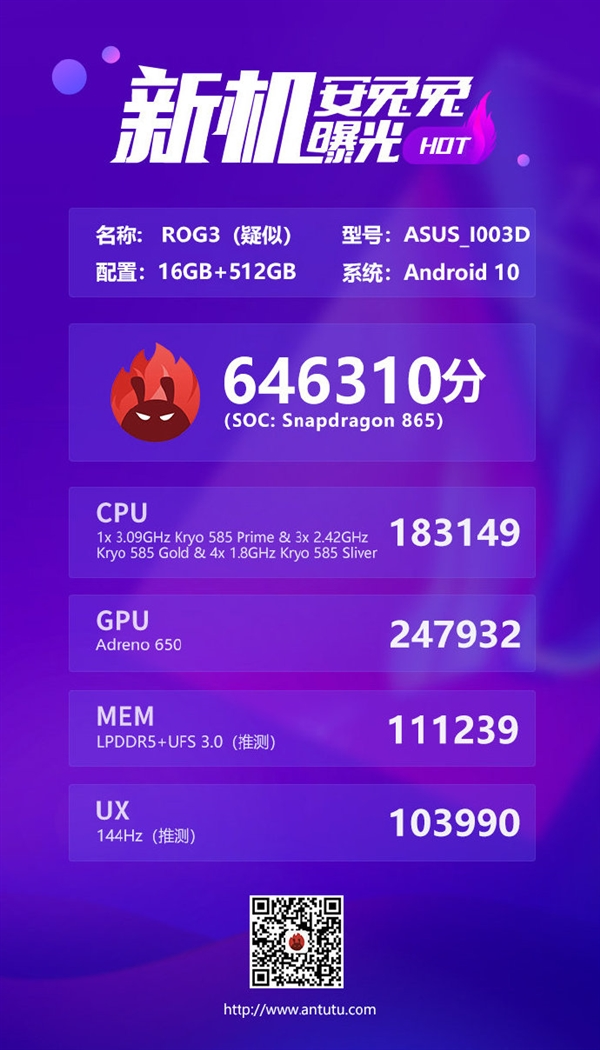 骁龙865 Plus?高频版骁龙865现身安兔兔:ROG游戏手机3或首发