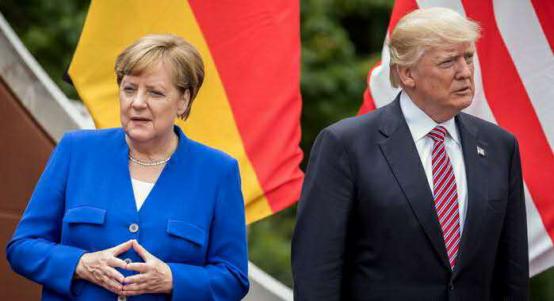 资料图:美国总统特朗普与德国总理默克尔。(图源:德国之声)