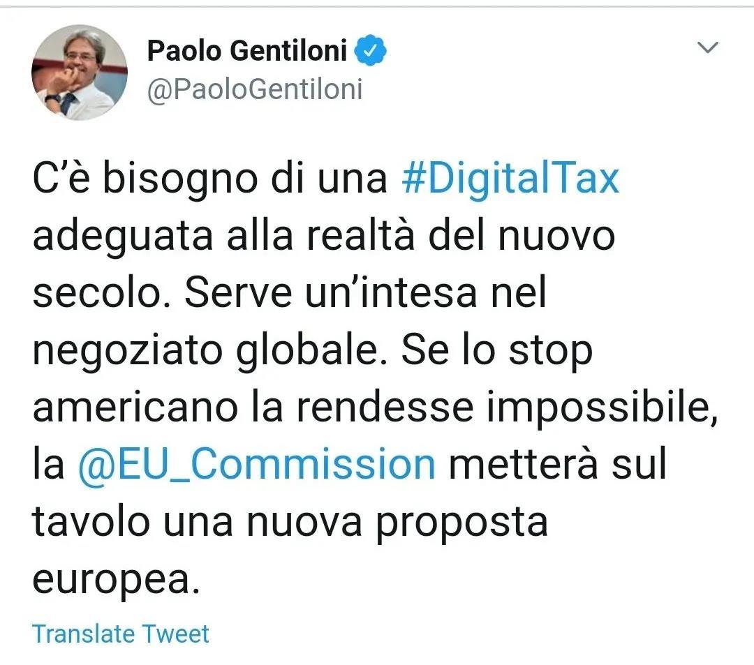 保罗·真蒂洛尼在社交媒体上发表声明