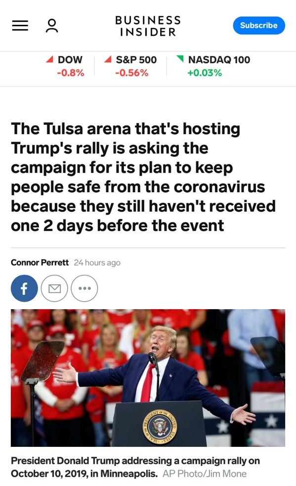 △《商业内幕》表示,塔尔萨集会地问询特朗普团队安全计划,然而至今未能得到答复