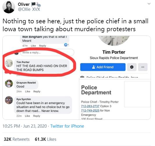 """网友Oliver截图发在了推特:""""爱荷华小镇警察局长发表谋杀抗议者言论。""""这条推特已被转推3.2万次。"""