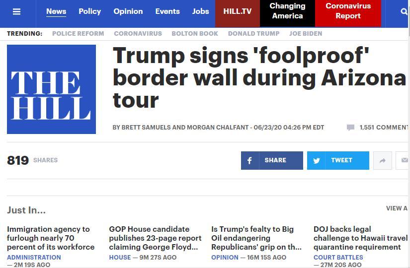 △《国会山》称,特朗普试图将边境墙描绘为他在大选中的政治资产