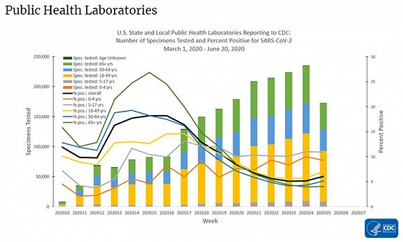公共实验室检测疑似及确诊,黄色柱状为18岁到49岁疑似患者。图片来源:美国疾控中央
