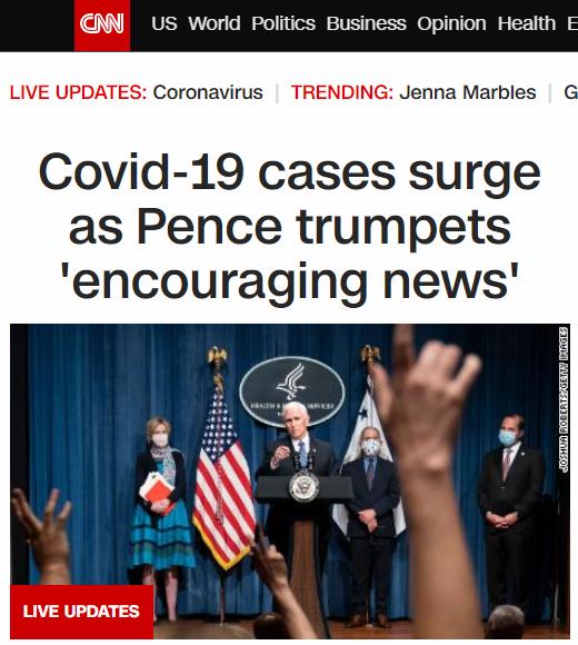 """△CNN称,各州病例激增之际,彭斯还在宣布""""令人鼓舞的消息"""""""