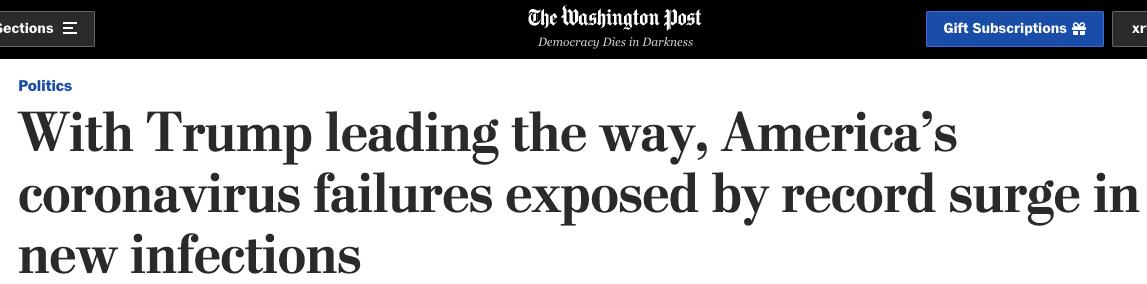 △《华盛顿邮报》:新增确诊人数破纪录美国抗疫失败