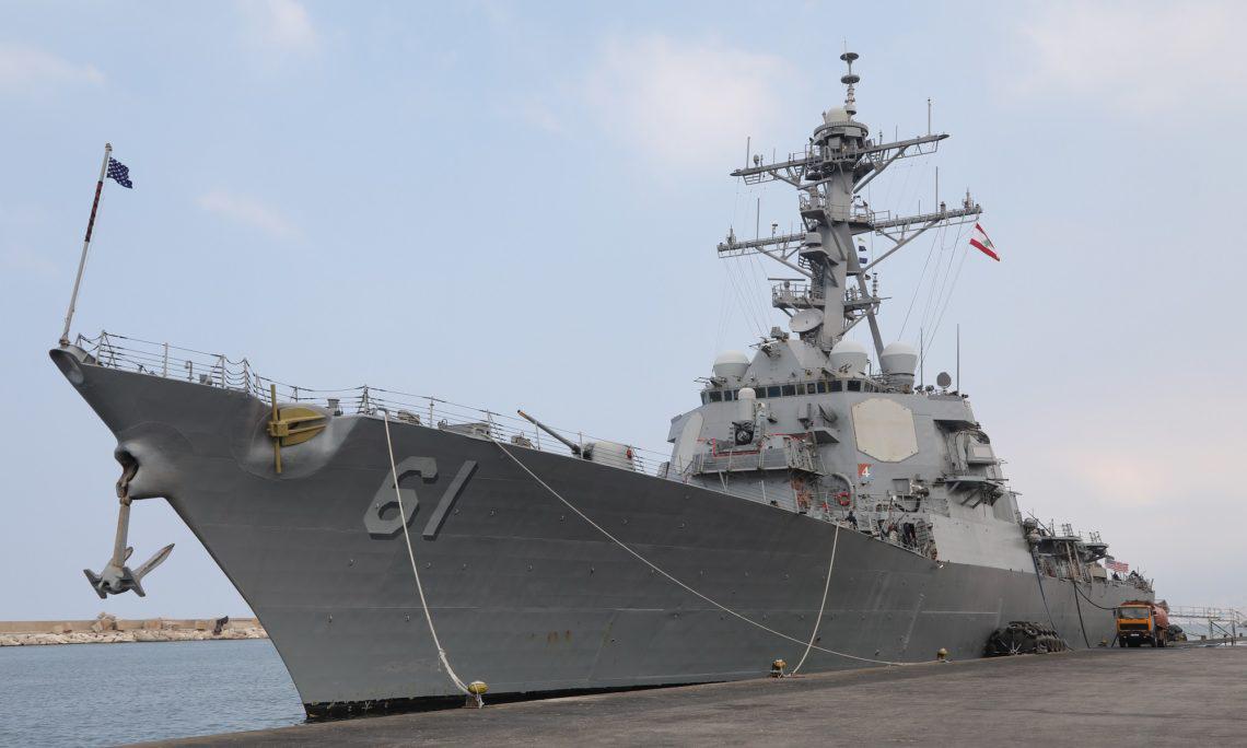 """△去年9月,美国海军""""拉梅奇号""""驱逐舰停靠黎巴嫩"""