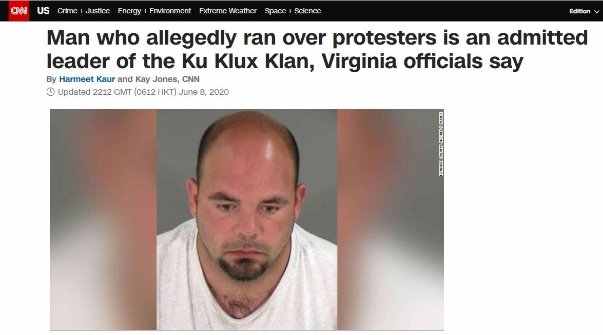 """美国""""三K党""""头目驾车冲进示威人群后被捕!该组织大佬曾""""单方面""""支持特朗普竞选总统……"""