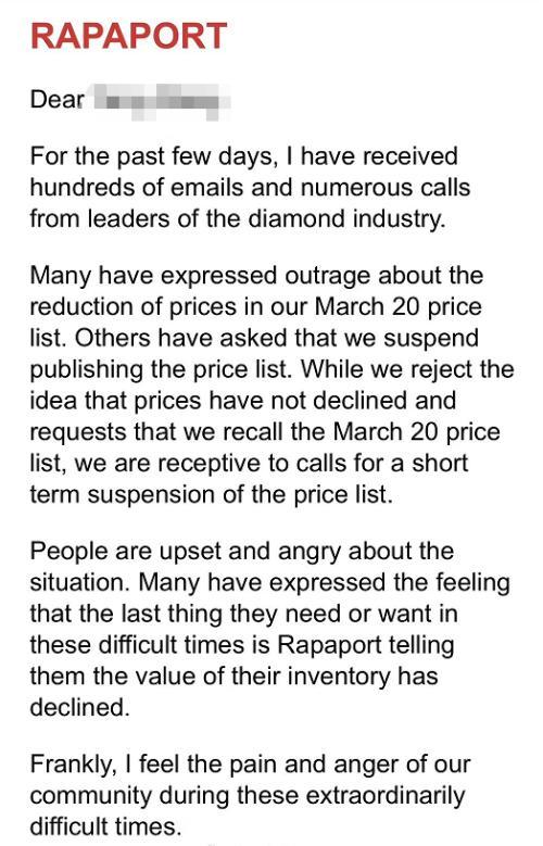 中国钻石商收到Rapaport的信 图片来源:受访者供图