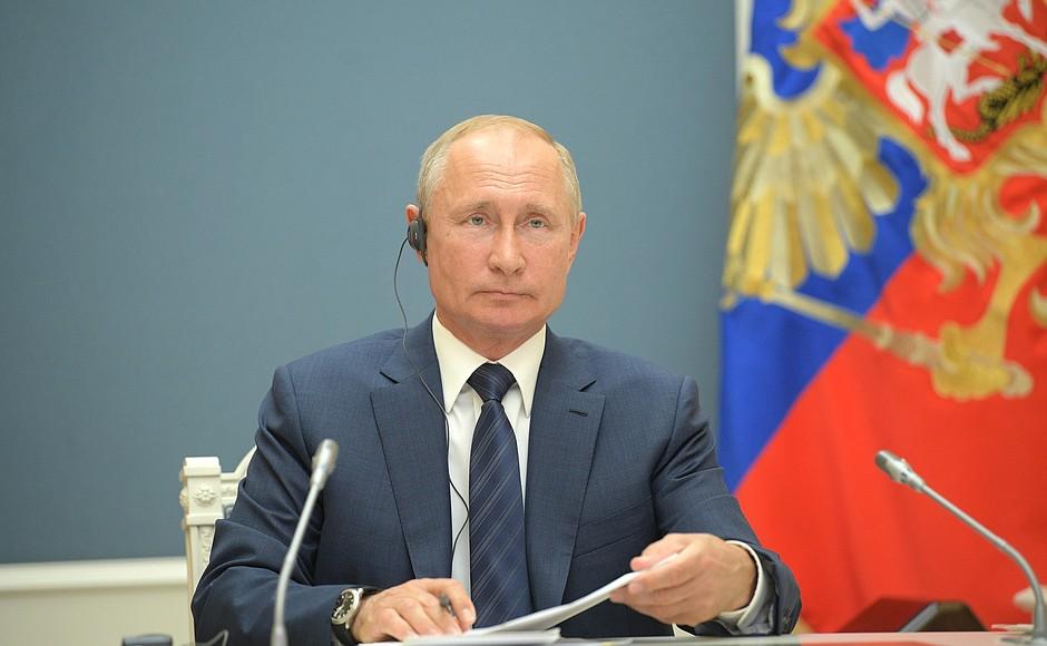 △普京在会议上(图片来源:俄总统官网)
