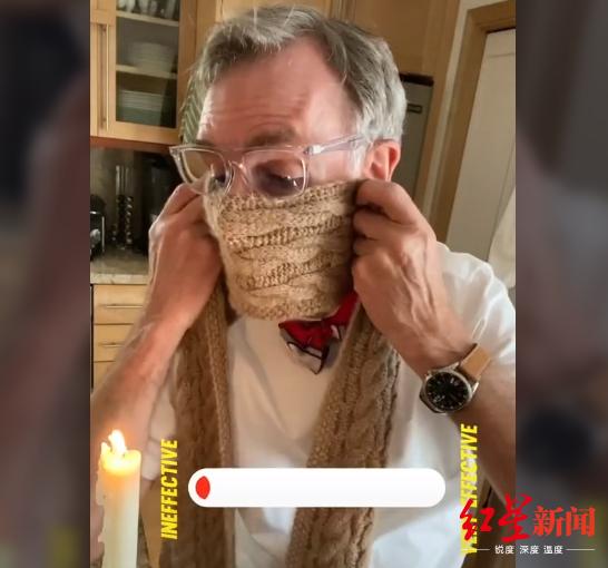 ▲比尔·奈为行家演示围巾的阻截呼吸微粒能力 截图