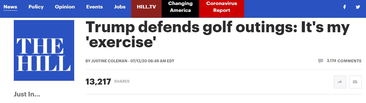 """(《国会山报》:特朗普为外出打高尔夫辩护:这是吾的""""锻炼"""")"""