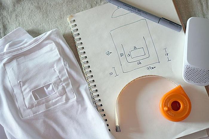 ▲ 一些不想买官方汗衣的用户,就拿本身的衬衫缝了个口袋并开孔,也能把Reon Pocket 放进往