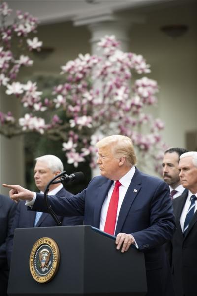 """3月13日,美国总统特朗普在华盛顿白宫发外说话时正式宣布""""国家危险状态"""" 新华社发"""