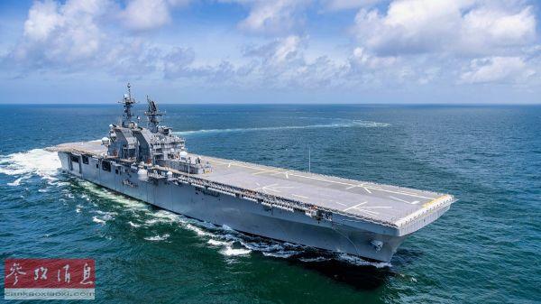 """资料图片:美海军""""的黎波里""""号两栖攻击舰2019年7月在墨西哥湾试航。(美国海军学会网站)"""