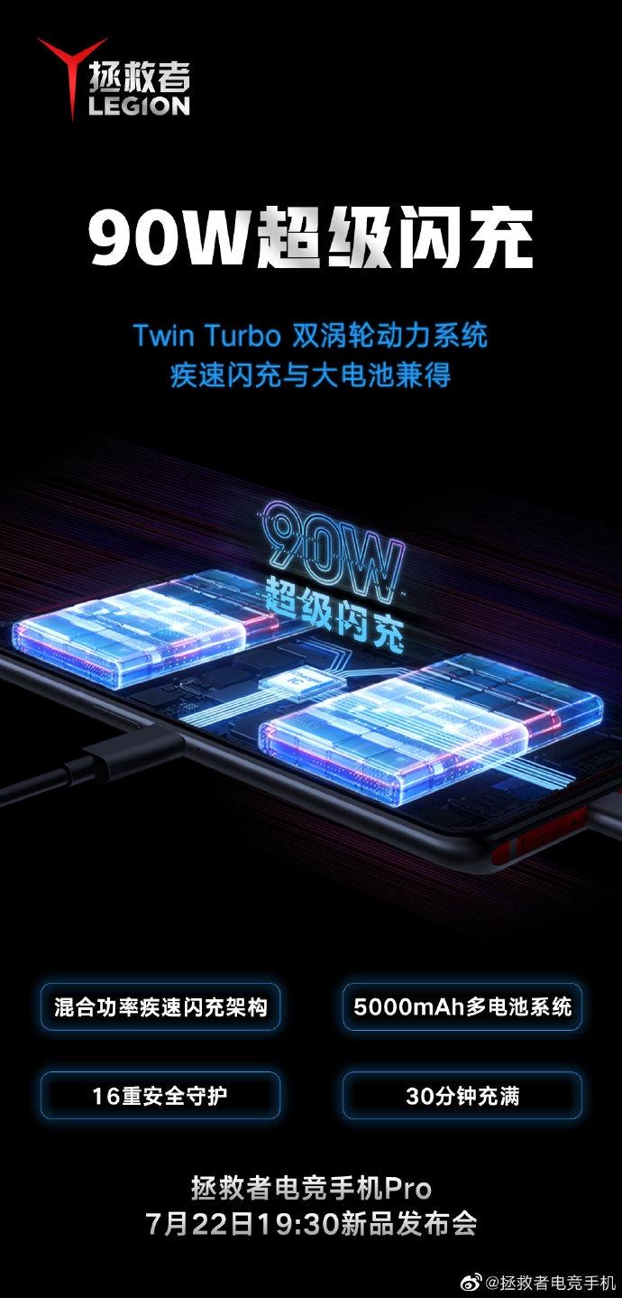 30分钟充满5000mAh 联想拯救者电竞手机Pro首发90W闪充
