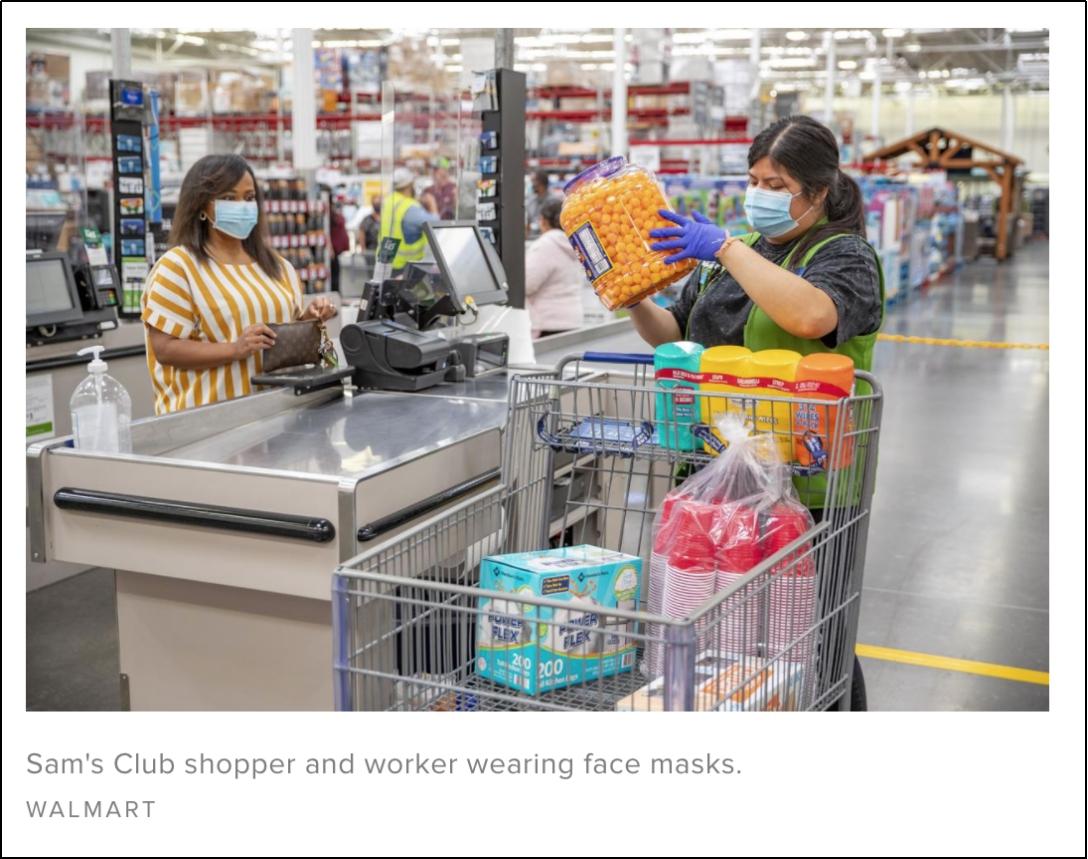 △沃尔玛旗下的商店里 顾客和工作人员都戴着口罩