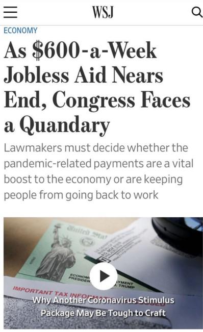△《华尔街日报》称,额外失业补助是2500万美国人至关重要的经济来源,一旦消失,不仅将令他们的生活陷入拮据,也将冲击美国宏观经济
