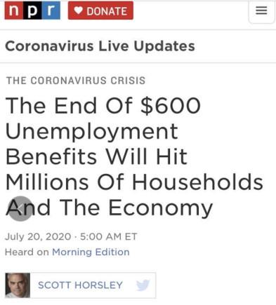 △美国国家公共广播电台指出,一旦停止发放额外失业补助,美国民众的集体消费能力每周可能减少近190亿美元