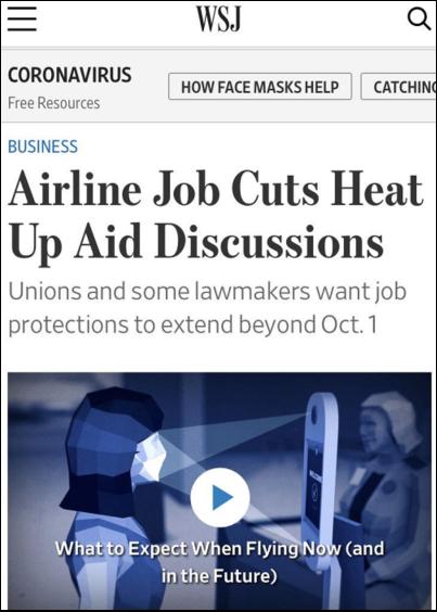 △美國航空工會希望政府繼續撥款,使航空公司能夠支付員工薪水