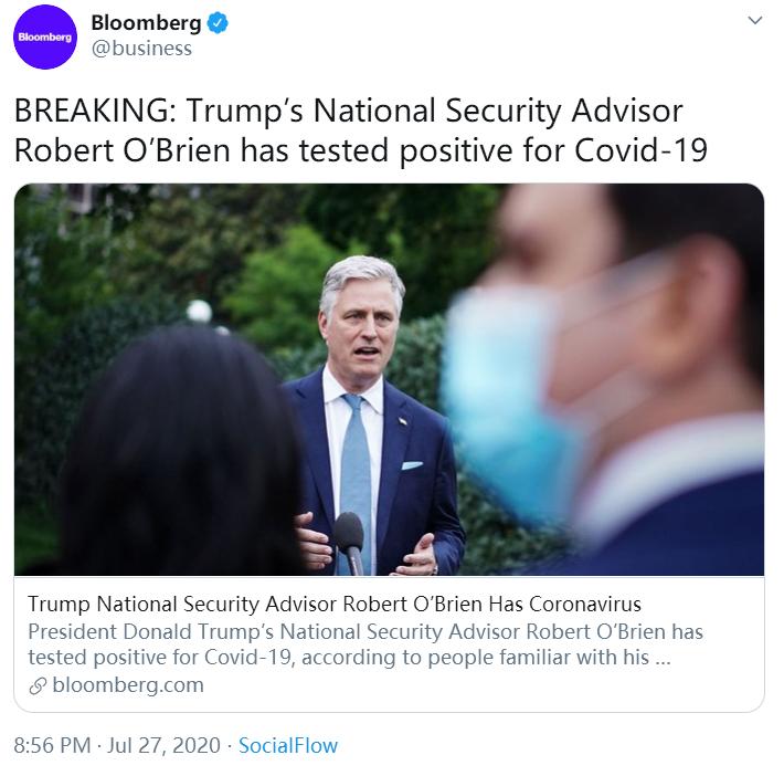 美国总统国家安全事务助理奥布莱恩新冠检测呈阳性