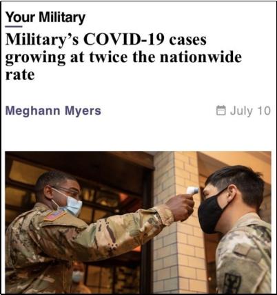 △美国《军事时报》指出,7月上旬,美国军方的确诊率高达33%,比同期全国确诊率高出一倍以上