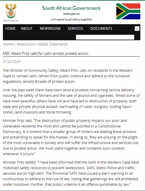 南非开普敦出现多起骚乱 政府呼吁抗议者保持冷静