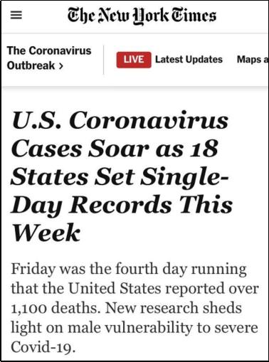 △《纽约时报》指出,截至7月24日,美国已经连续四天报道了单日新冠肺炎死亡破千,并且在30个州呈上升趋势