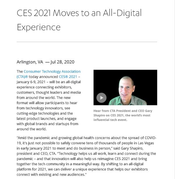 CES 2021線下展會取消