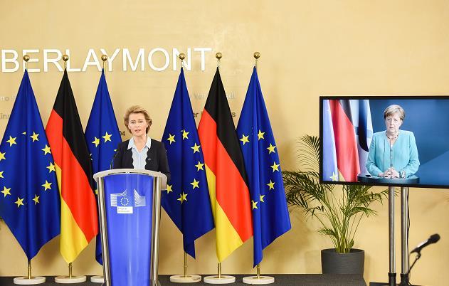 △欧盟委员会主席冯德莱恩和德国总理默克尔说相符举走消休发布会(图片来源:欧盟委员会)