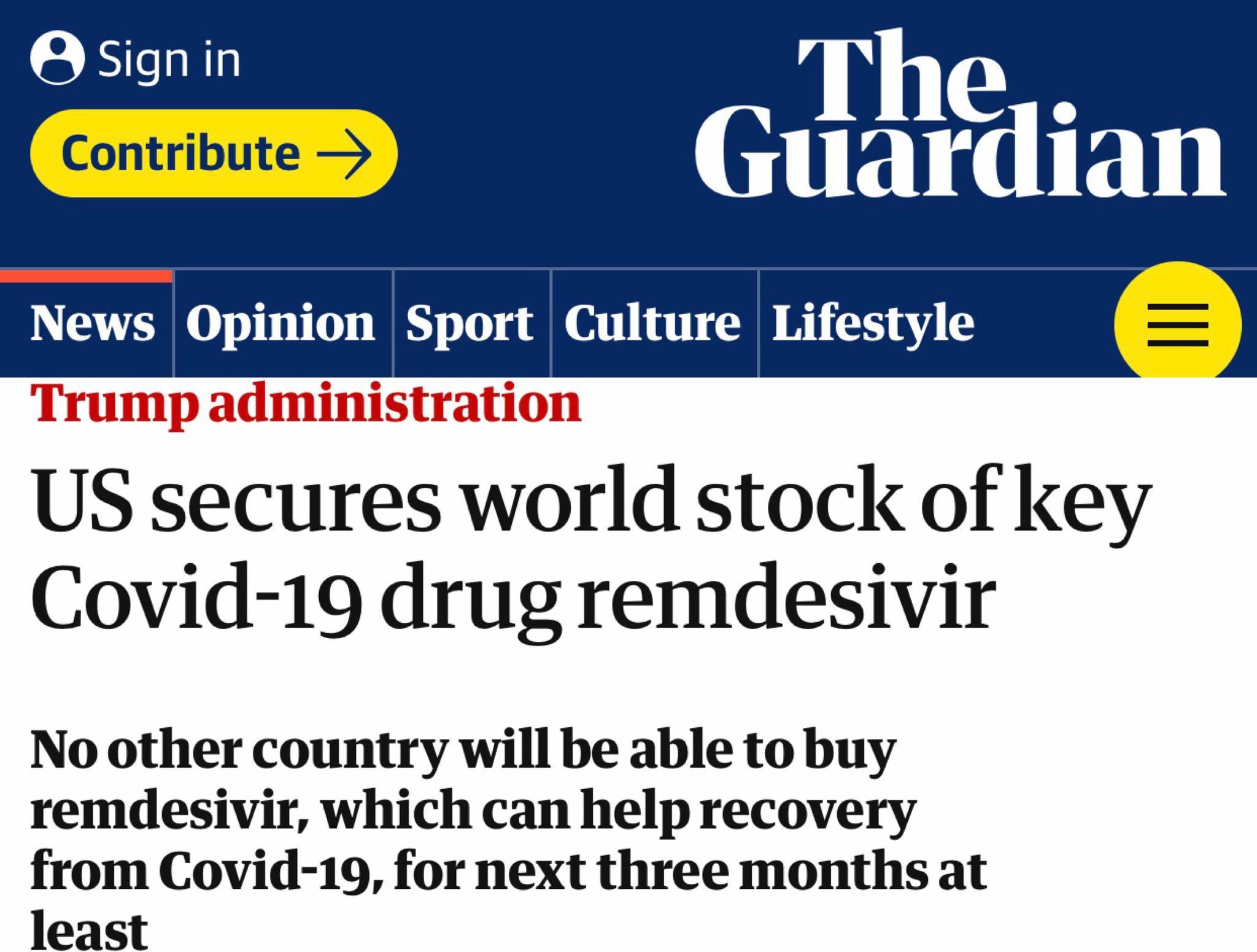 """美国霸道""""买断""""瑞德西韦 盟友:别自尝恶果修正药业集团"""