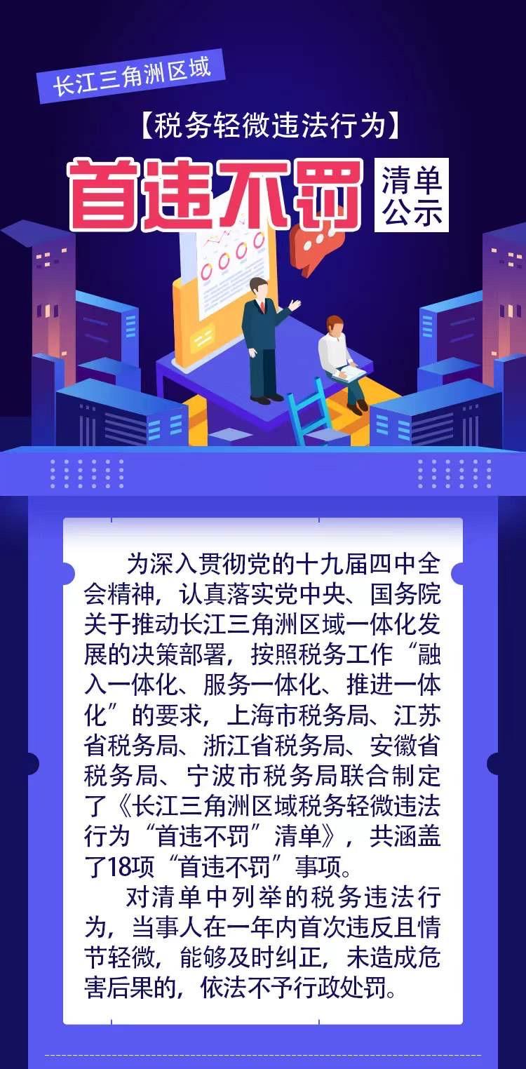 """长三角8月1日起执行统一的税务轻微违法""""首违不罚""""清单"""