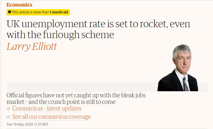 △《卫报》5月19日文章,英国失业率将如火箭般攀升